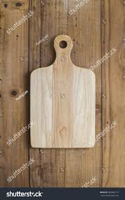 Wooden Table Top View Wooden Chop Board On Rustic Wooden Stock Photo 304842110