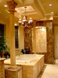 luxury lighting and bath tub in a traditional bathroom design