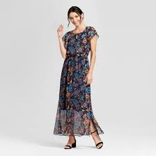 women u0027s floral short sleeve maxi dress a new day navy target