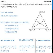 misc 2 find lengths of medians of triangle with vertices miscellan