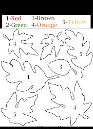 kid friendly fall leaf color number worksheet