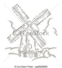 vector clipart of vintage windmill logo bakery design vector