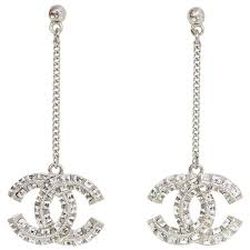 pierced earring chanel pave cc drop pierced earrings for sale at 1stdibs
