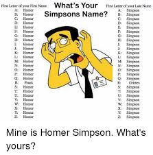 Simpson Memes - first letter of your first name what s your first letter of your