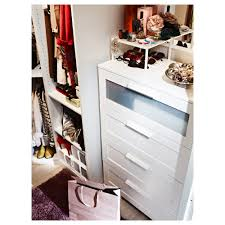 Ikea Pull Out Drawers Brimnes Chest Of 4 Drawers White Frosted Glass 78x124 Cm Ikea