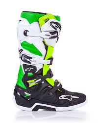 blue dirt bike boots alpinestars tech 7 vegas motocross boots black white green flo
