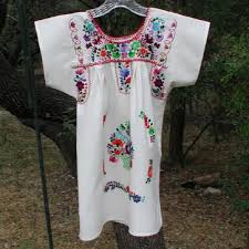 girls embroidered huichol mexican peasant dresses