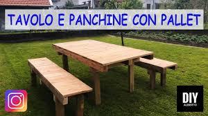 Tavolo Da Giardino Leroy Merlin by Tavolo E Panchine Con Pallet Fai Da Te Diy Youtube