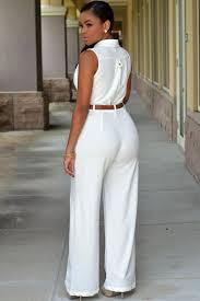 white wide leg jumpsuit fashion white belted wide leg jumpsuit