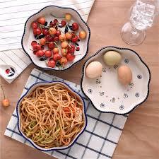 cuisine decorative creative retro wave edge flower type ceramic plate baking dishes