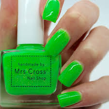 fishnets 5ml bright green neon nail polish handmade in the
