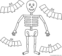 Halloween Skeletons by Skeleton With Four Bats Coloring Page Halloween