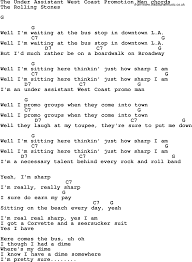 corvette chords song lyrics with guitar chords for the assistant coast
