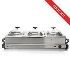 bella 240w stainless steel triple buffet server u0026 warming tray