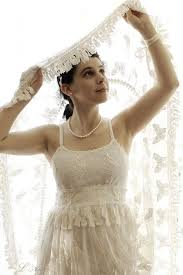 elegant old fashioned butterfly shoulder less long white silk lace