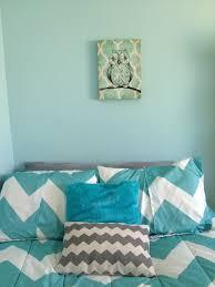 owl canvas chevron pillow aqua grey white body pillow