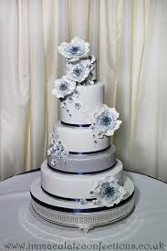 silver wedding cakes contemporary navy silver floral wedding cake gallery 2