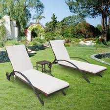Patio Chaise Lounges Ikayaa 3pcs Rattan Wicker Patio Chaise Lounge Chair Set Sales