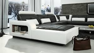 canapé d angle panoramique leana en cuir italien design pas cher