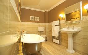 luxury bathrooms design with floating sink and wall lighting plus