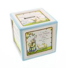 baptism piggy bank personalized baptism ceramic block piggy bank in blue