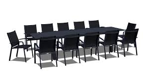 Modern Patio Dining Sets - 13 piece extendable modern patio dining set black on black www