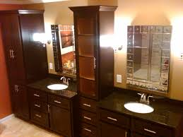 bathroom elegant beige master bath cabinet with dual oval sink