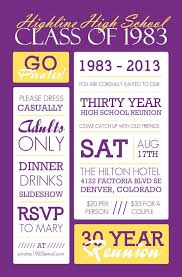 high school class reunion invitations poster style purple and yellow class reunion invitation class