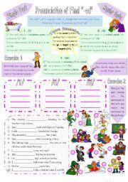 english worksheet pronunciation of final ed in simple past of