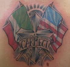 cross with italian american flags tattoo design tattoos book