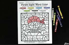 pirate color by sight word activity a dab of glue will do