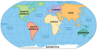 continents on map map of the continents and map 7 continents map