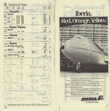 Iberia Route Map by Airline Memorabilia Iberia 1981 1984