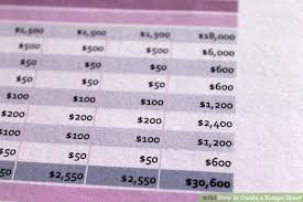 how to create a budget sheet 7 steps with pictures wikihow