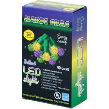 led mardi gras mini globe lights 40 light strand 08429