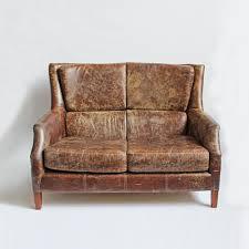 Mix Furniture Distressed Leather Short Sofa Furniture Mix Furniture