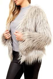 dashboard fiore fiore grey fluffy faux fur coat miss g couture