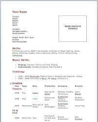 Example Of A Dance Resume Sample Dance Resume For Audition Acting Resume Template No