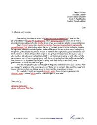 letter of recommendation format letter of recommendation sle