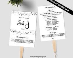 Wedding Program Templates Fans Wedding Fan Program Etsy