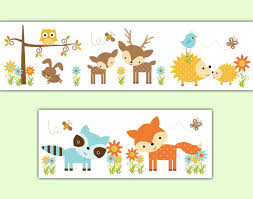 Wallpaper Borders For Girls Bedroom Woodland Nursery Decal Wallpaper Border Forest Creatures
