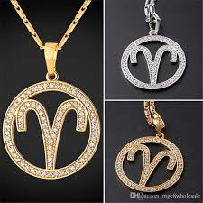 new necklace charms images Wholesale u7 new zodiac charms aries pendant necklace simple women jpg