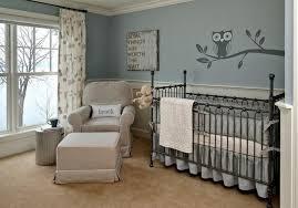 vintage grey crib with dark color scheme also owl sticker wall art