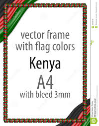 Images Kenya Flag Frame And Border Of Ribbon With The Colors Of The Kenya Flag Stock