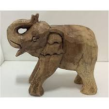 small wooden elephant ornament animal vintage figurine carved