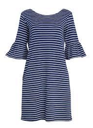 suri navy u0026 white breton stripe frill sleeve dress joanie clothing