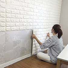wall tiles for living room amazon com 10pcs 3d brick wall stickers pe foam self adhesive