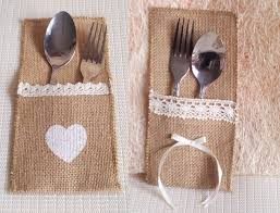 wedding silverware hessian rustic wedding burlap ribbon silverware holder pocket