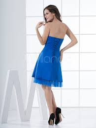 glamour royal blue short a line cocktail dress with strapless neck