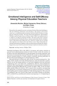 emotional intelligence and self efficacy among physical education